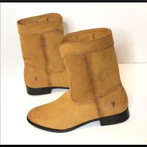 Frye Cara Roper Short Leather Riding Boots Cognac